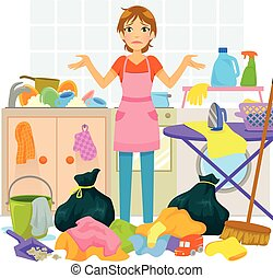 housework - young woman overwhelmed by too much housework