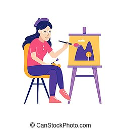 Young Woman Painter Drawing Picture on Canvas