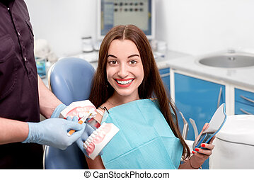 Young woman patient visiting dentist in the dental office