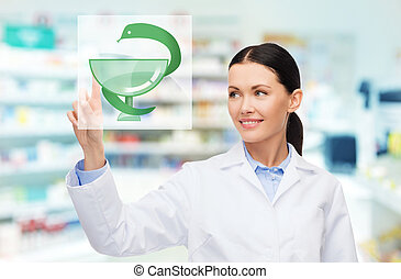 young woman pharmacist drugstore or pharmacy - medicine, ...