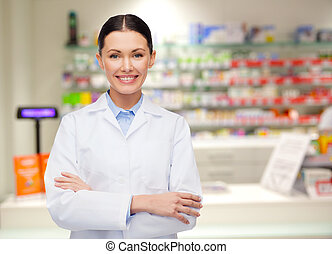 young woman pharmacist drugstore or pharmacy