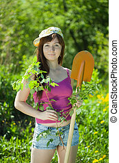 woman planting currant in garden - Young woman planting ...
