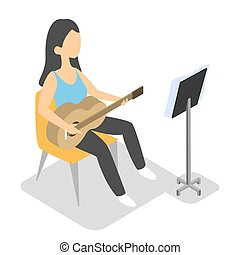 Young woman play guitar. Musician with acoustic instrument...