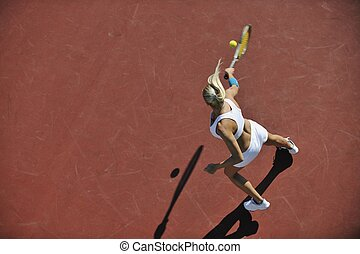 young woman play tennis outdoor