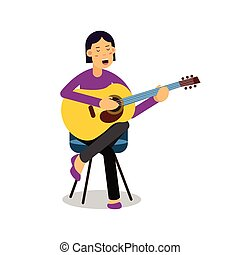 Young woman playing an acoustic guitar and singing cartoon...