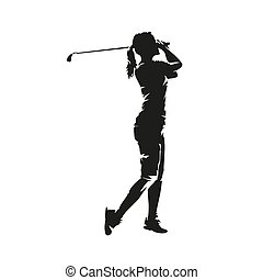 Young woman playing golf, isolated vector silhouette. Golf swing, side view