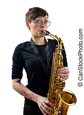 young woman playing the saxophone