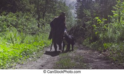 Young woman playing with the dog in the forest - Young woman...