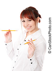 young woman playing with two pencils