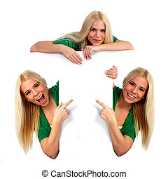 Young woman pointing at something