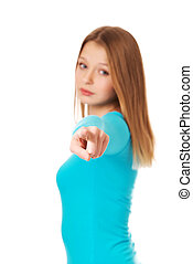 Young woman pointing on you