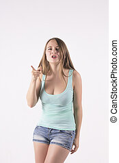 young woman pointing the finger