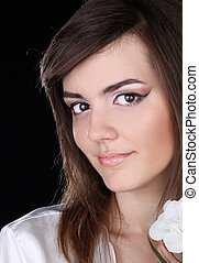 Young woman portrait. Make up skin care