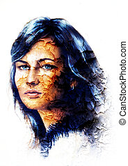 Young woman portrait, with long dark hair and blue eye , color