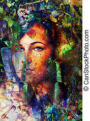 Young woman portrait, with long dark hair and blue eye , color painting and spots structure, Abstract background.