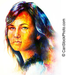 Young woman portrait, with long dark hair , color painting collage. Brown, orange, yellow, black and white color.