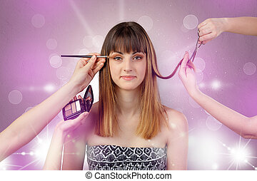Young woman portrait with shiny pink salon concept
