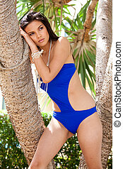 Young Woman Posing in a Designer Bathing Suit