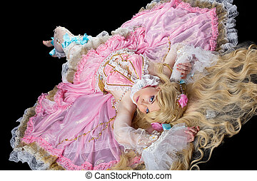 Young woman posing in ball joint doll costume