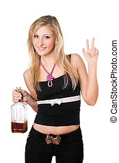 Young woman posing with a bottle
