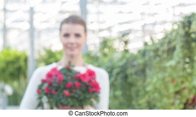 Young woman posing with beautiful flower in flowerpot. -...