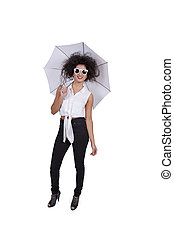 Young woman posing with umbrella