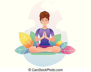 young woman practices yoga in lotus position