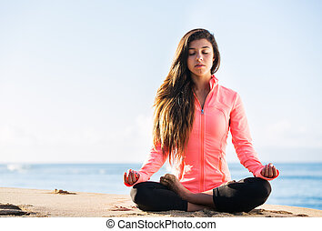 morning meditation - Young woman practicing morning...