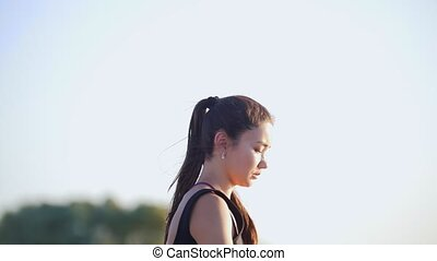 Young Woman Practicing Outdoors - Young Beautiful Woman...