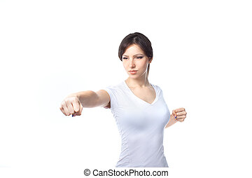 Young woman practicing self defense