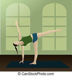 half moon posture in room - Young woman practicing yoga half...