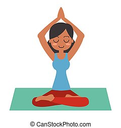 Young woman practicing yoga in lotus pose