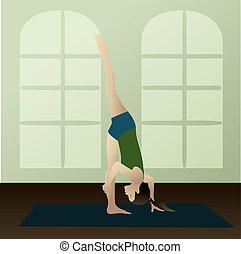 Standing Split - Young woman practicing yoga Urdhva...