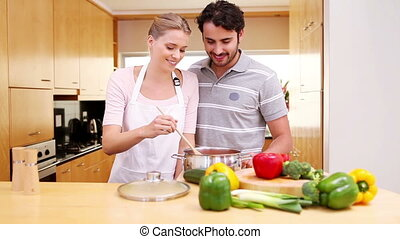 Young woman preparing a healthy meal