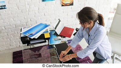 Young Woman Preparing Pictures Photos Images In Frame
