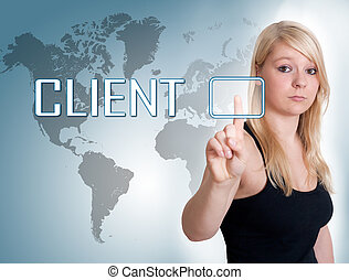 Young woman press digital Client button on interface in front of her