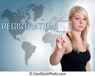 Young woman press digital Registration button on interface in front of her
