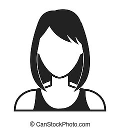 Young woman profile in black and white