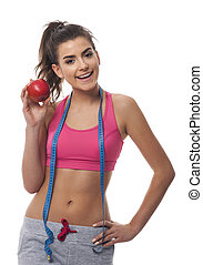 Young woman promoting healthy lifestyle