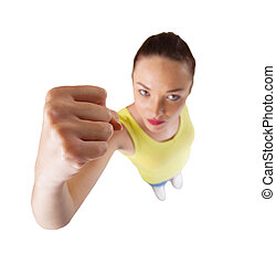 young woman punching with fist isolated on white