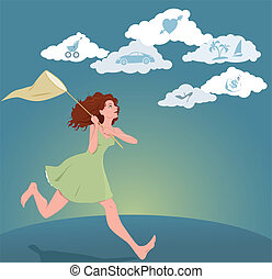 Vector illustration with a girl with a butterfly net running after clouds with symbols of dreams and hopes