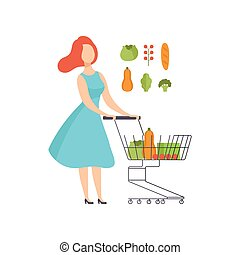 Young woman pushing supermarket shopping cart full of healthy food, girl buying vegetables at the grocery shop vector Illustration on a white background