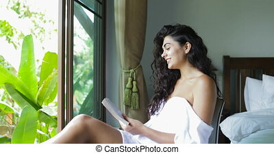 Young Woman Reading Book Happy Laughing Beautiful Girl...