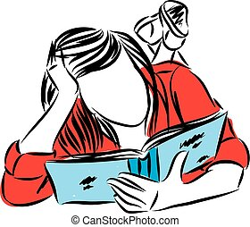 young woman reading book vector illustration
