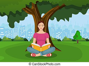 Young woman reading books
