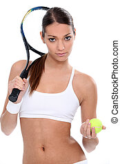 Young woman ready for tennis