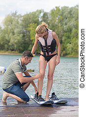 young woman ready for wakeboarding