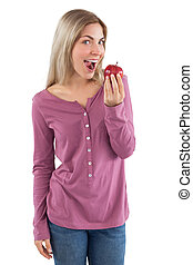 Young woman ready to eat apple