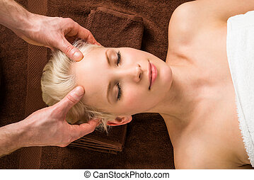 Young Woman Receiving Head Massage At Spa - Portrait Of A...