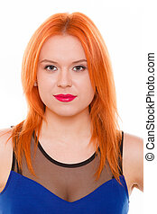 Young woman red hair girl portrait isolated